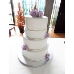 Tarta de boda  sencilla en fondant
